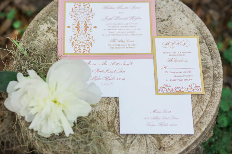 Pink and Gold Wedding Invitation Stationery Suite