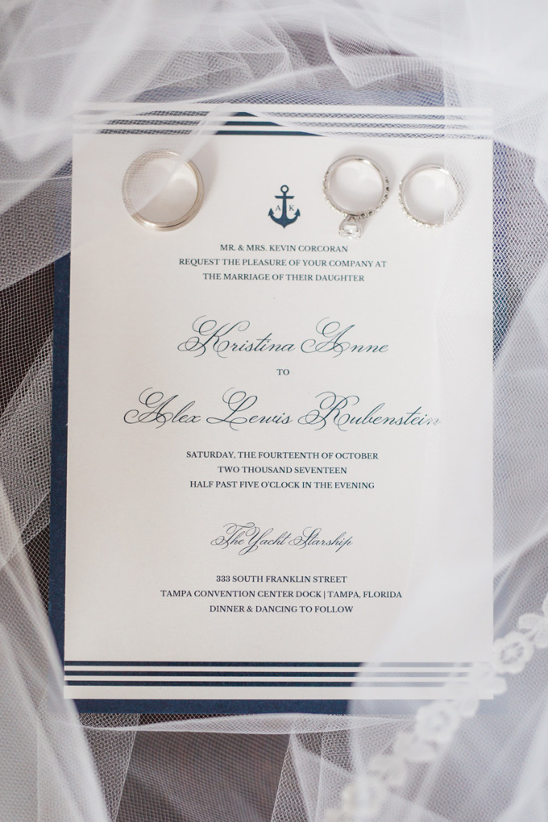 Navy Stripes and Anchor Elegant Nautical Wedding Invitation with Wedding Bands and Engagement Ring