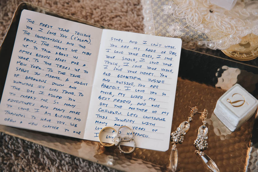 Letter from Groom and Bridal Accessories with Drop Rhinestone Earrings, Wedding Bands and Engagement Ring