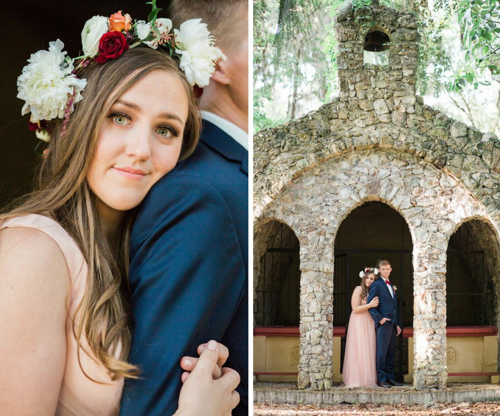 Outdoor Boho Bride and Groom Wedding Portrait with Floral Crown