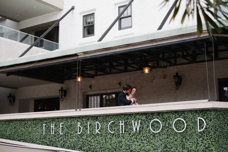 Outdoor First Look Wedding Portrait   Tampa Bay Boutique Hotel Wedding Venue The Birchwood