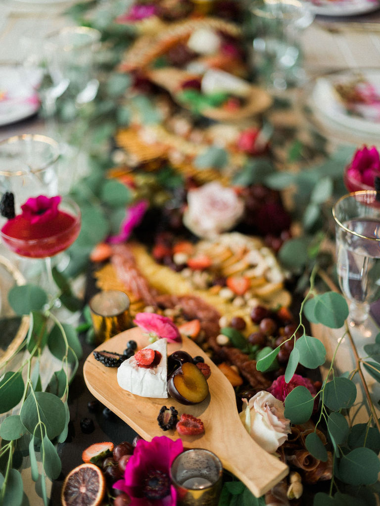 Modern Fuchsia Wedding Charcuterie Board with Greenery | Lakeland Florida Wedding Caterer Tastes of Tampa Bay