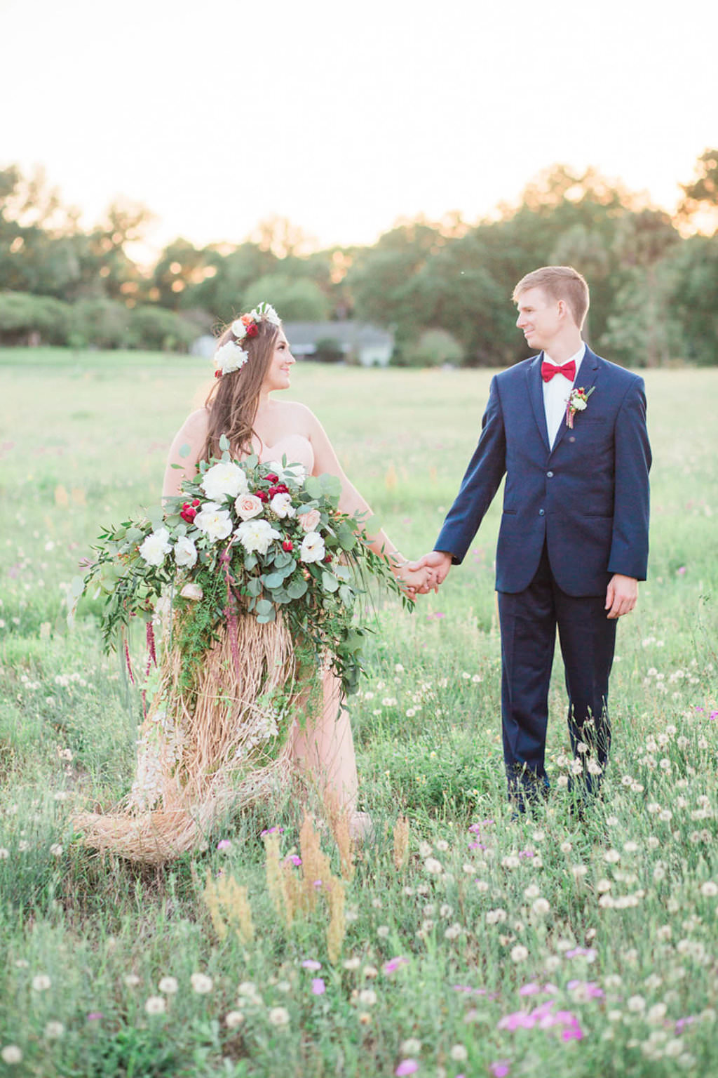 Boho Bride with Flower Crown, Oversized White and Red Bouquet and Blush Pink Wedding Dress   Outdoor Whimsical Garden Wedding Inspiration