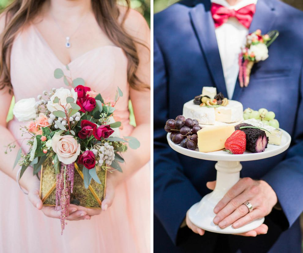 Outdoor Boho Bride and Groom Wedding Portrait Red and Green Centerpiece and Cheese Display