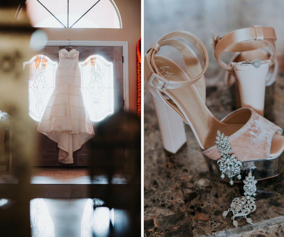 Modern Indian Wedding Bridal Accessories with Blush Pink Open Toed Shoes, and Strapless Mermaid Wedding Dress
