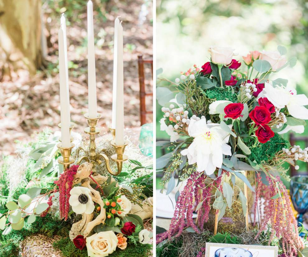 Outdoor Whimsical Boho Garden Wedding Reception Decor with Candelabra Centerpiece and Red and White Flowers