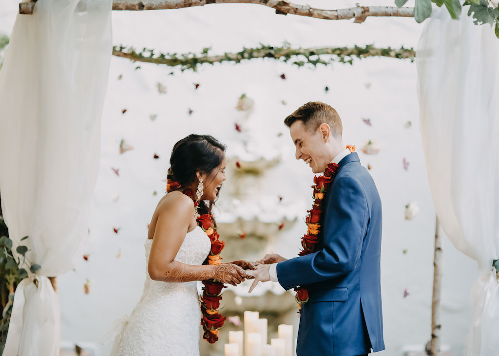 Outdoor Garden Modern Indian Wedding Ceremony Portrait With Hanging Blush Red And Orange Rose Garland And White Draped Arch Groom In Blue Suits Tampa Bay Wedding Photography Rad Red Creative
