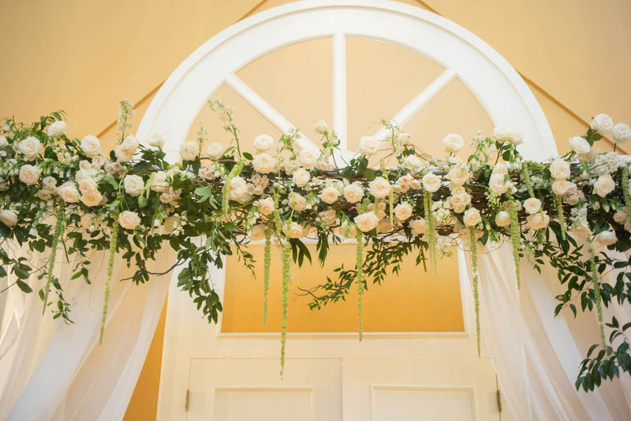 White Floral and Organic Greenery with White Draping Arch   Tampa Bay Wedding Decor Rental Gabro Event Services