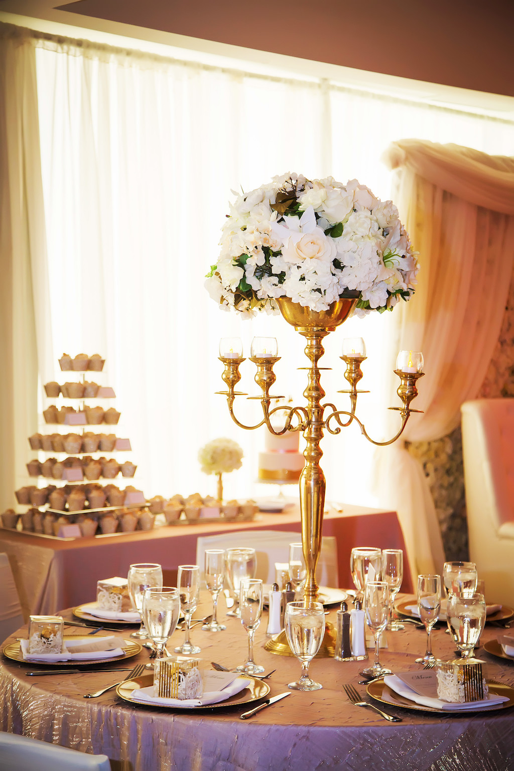 Luxurious Gold and White Wedding Reception with Round ...