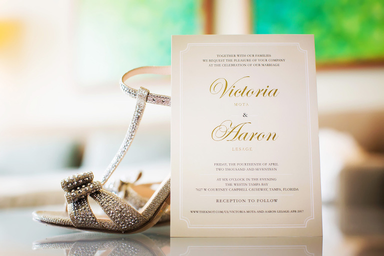 Elegant Gold and White Wedding Invitation with Silver Jeweled Open Toed Strappy Stiletto Wedding Shoes