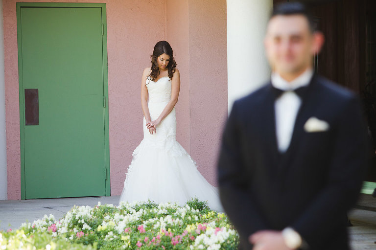 Outdoor Garden First Look Wedding Portrait, Bride in Strapless Mermaid Lazaro Dress | Tampa Bay Photographer Marc Edwards Photographs | St Pete Historic Hotel Venue The Vinoy | Hair and Makeup Femme Akoi Studio