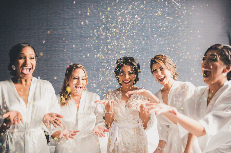 Bridal Party Getting Ready Portrait with Glitter Confetti | Tampa Bay Wedding Planner Special Moments Event Planning