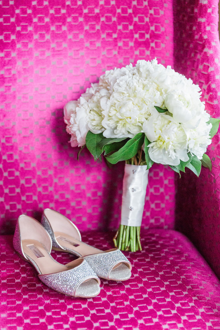 Glittery Jeweled Silver Peep Toe Flat Wedding Shoes with White Peony Bouquet with Greenery and White Ribbon | Tampa Bay Wedding Florist Cotton and Magnolia
