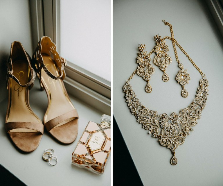 Open Toe Stiletto Sandal Jessica Simpson Wedding Shoes with Gold Bridal Jewelry and Accessories