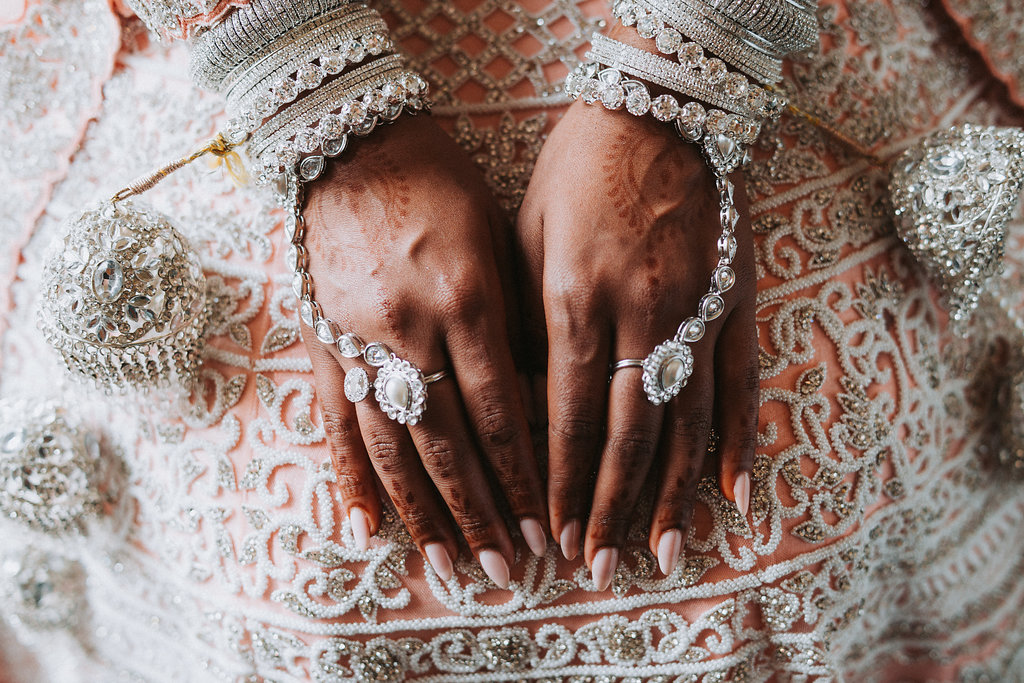 Traditional Hindu Indian Wedding Bridal Portrait with Henna Jewelry   Tampa Bay Wedding Photographer Grind and Press Photography