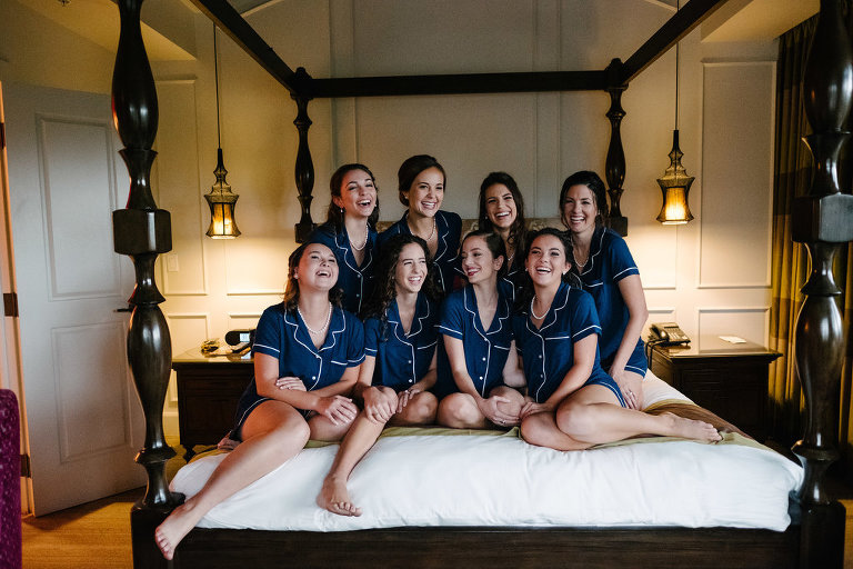 Bridal Party Getting Ready Portrait in Matching Blue Pajamas | Tampa Bay Boutique Hotel Wedding Venue The Birchwood