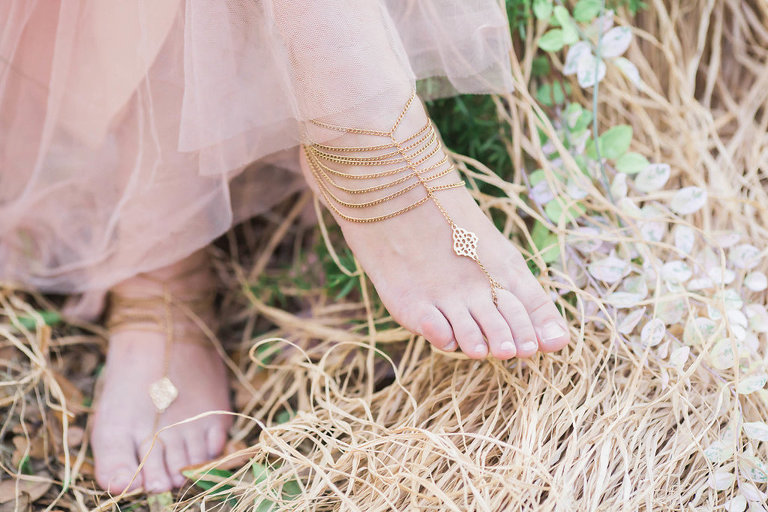 Boho Barefoot Bride with Gold Feet Jewelry