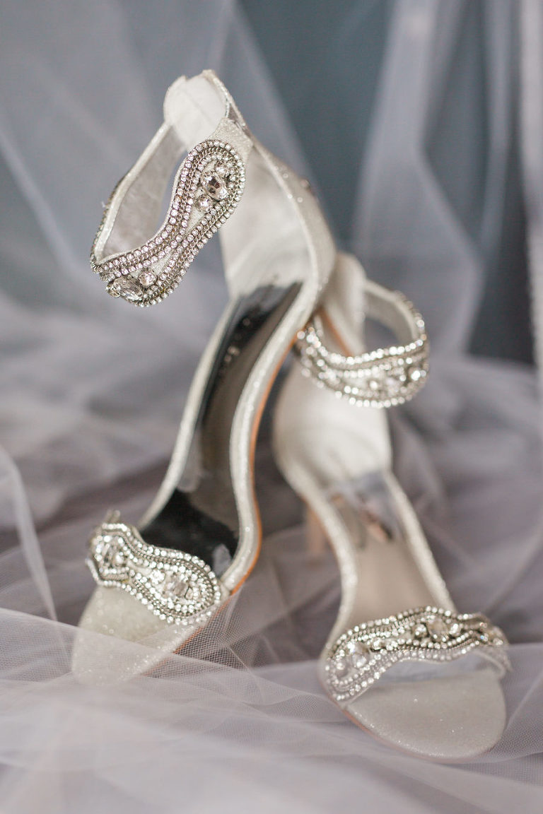 Jeweled Open Toe Stiletto Sandal Silver Wedding Shoes