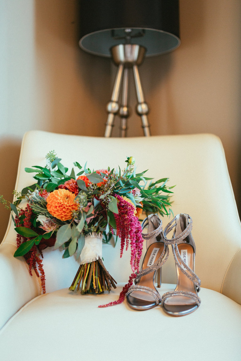 Silver Open Toed Steve Madden Wedding Shoes with Orange, Pink, and Red with Greenery Bridal Bouquet