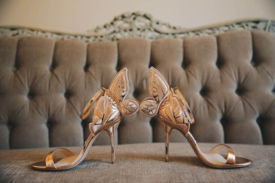 Rose Gold Wedding Open Toe Stiletto Wedding Shoes with Butterfly Wing Heels