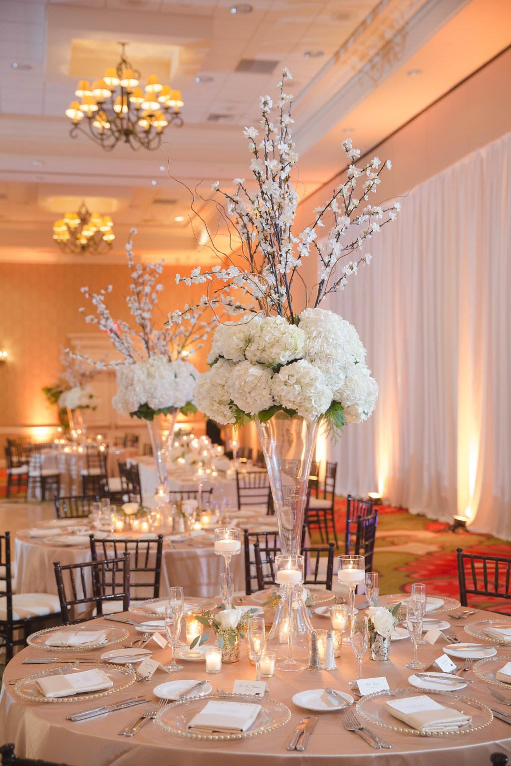 Hotel Ballroom Gold And White Wedding Reception Round Table Decor