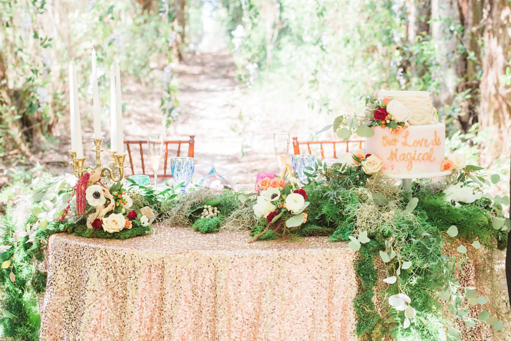 Outdoor Whimsical Garden Wedding Inspiration with Sweetheart Cake Table with Sequined Linens   Over the Top Linen Rentals