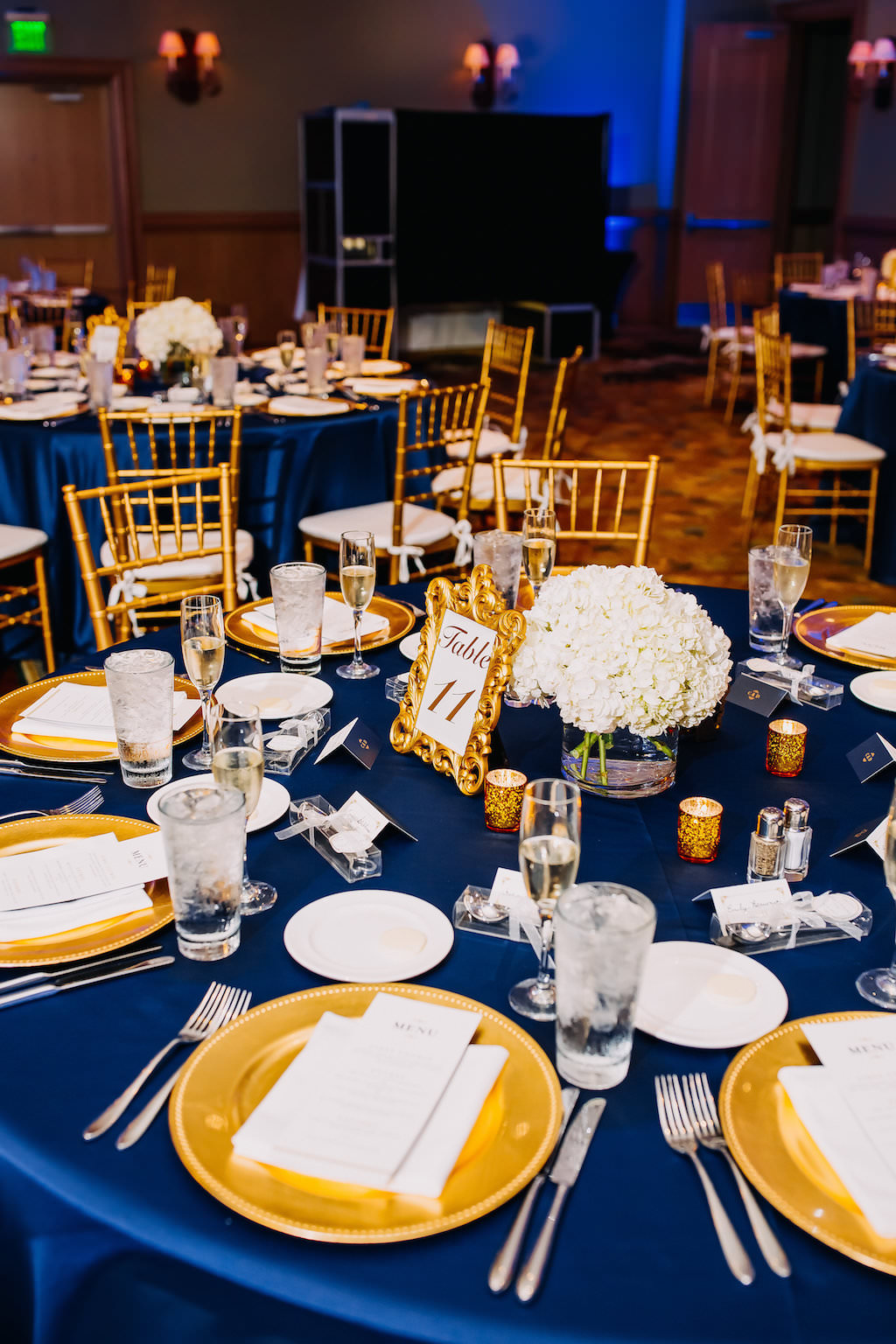 Navy Blue And Gold Ballroom Wedding Reception Table Decor