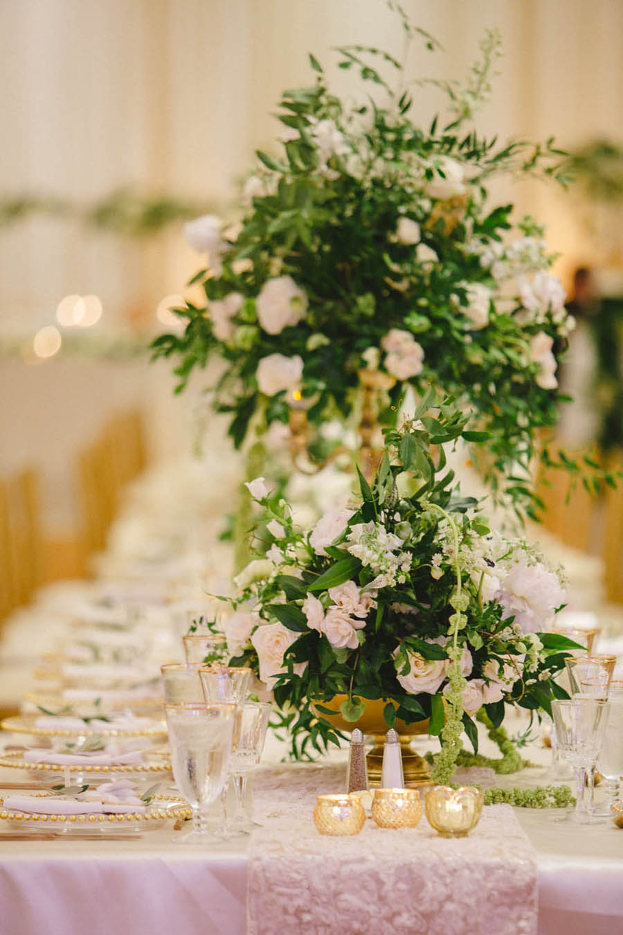White and Greenery Ballroom Wedding Reception Tall Centerpiece in Gold Candelabra, Small Votive Candles