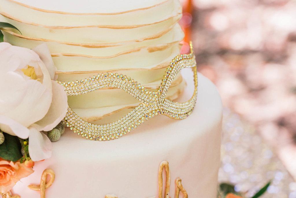 Whimsical Two Tier Round Blush Pink Wedding Cake with Rhinestone Diamond Venetian Mask