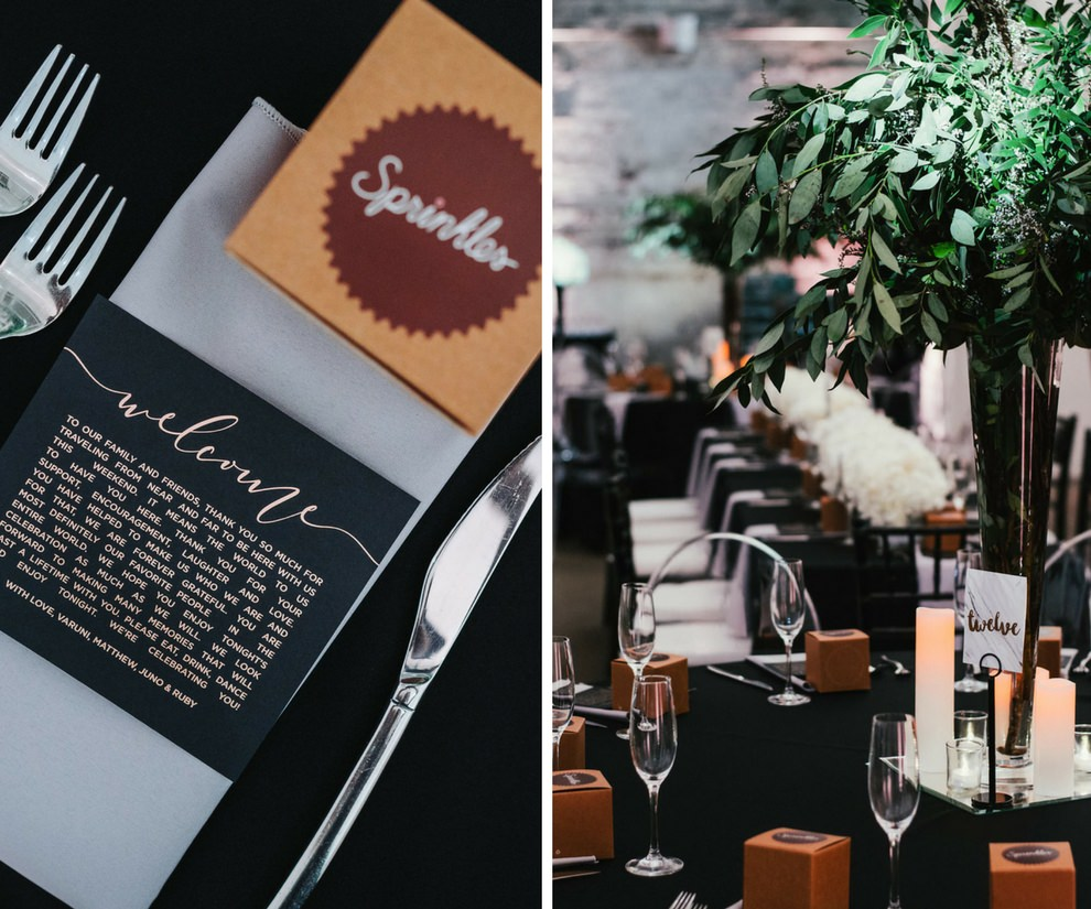 Modern Industrial Black and White Indian Wedding Reception Table Decor with Tall Greenery Centerpiece and Cupcakes in Boxes Wedding Favors, Printed White on Black Welcome Note   Tampa Wedding Planner Glitz Events