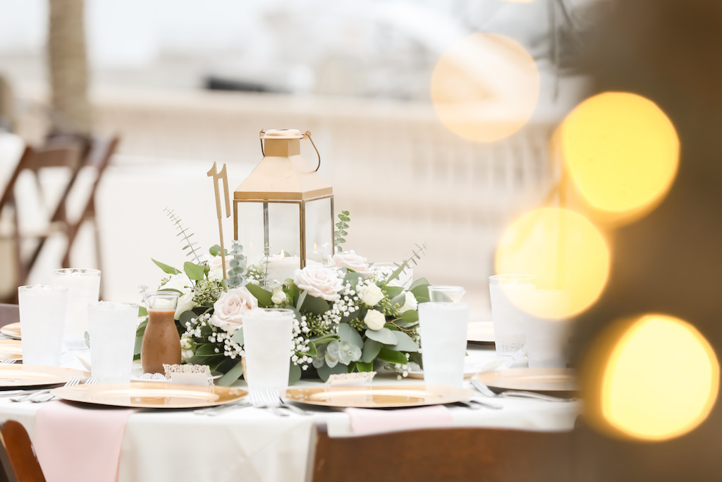 Rustic Nautical Outdoor Wedding Reception Round Table Decor With