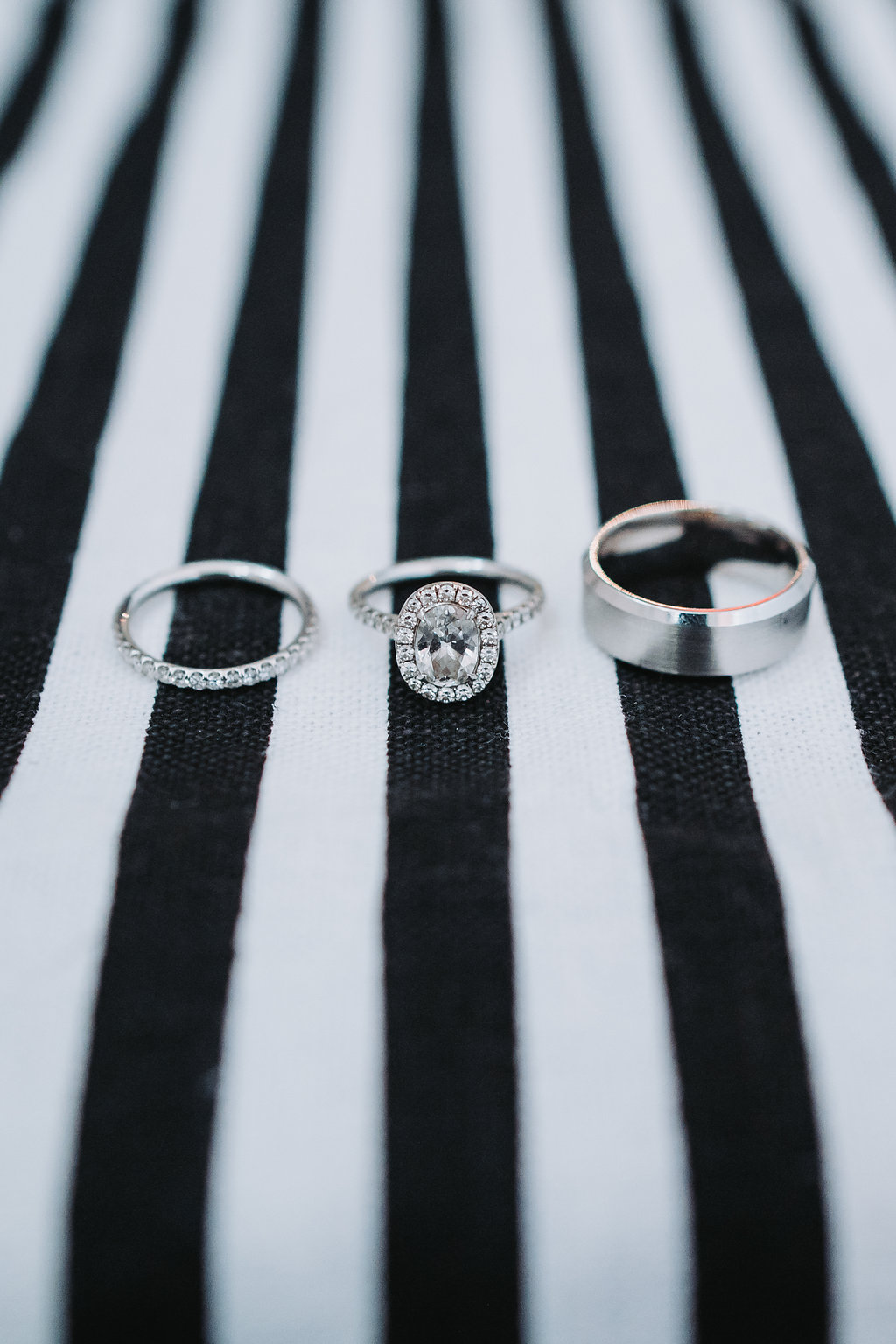 Wedding Band, Engagement Ring on Black and White Linen