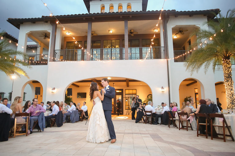 Rustic Nautical Outdoor Wedding Reception First Dance Portrait with String Lights | Tampa Bay Waterfront Wedding Venue The Westshore Yacht Club | Photographer Lifelong Studios Photography