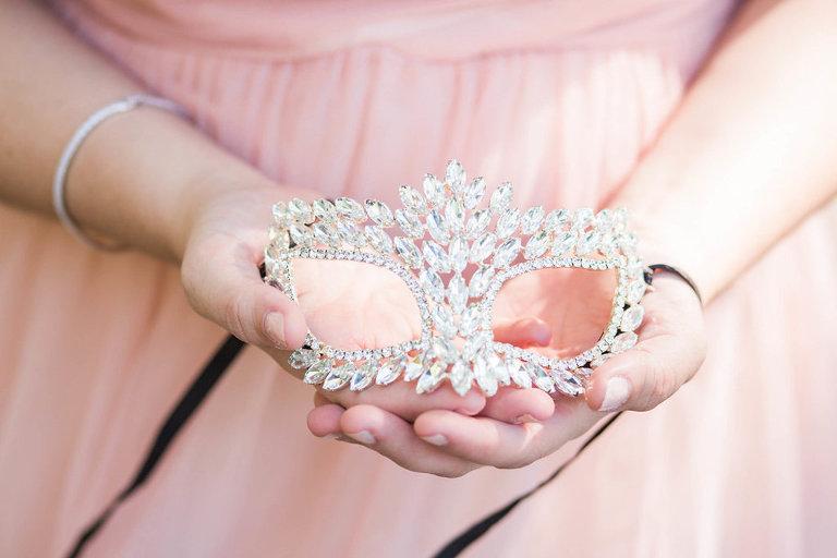 Whimsical Garden Wedding Inspiration With Venetian Mardi Gras Mask