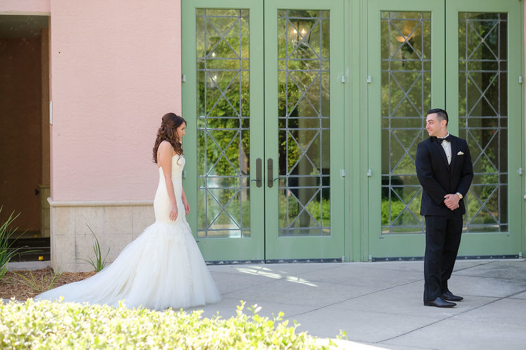 Outdoor Garden First Look Wedding Portrait, Bride in Strapless Mermaid Lazaro Dress | Tampa Bay Photographer Marc Edwards Photographs | St Pete Historic Hotel Venue The Vinoy