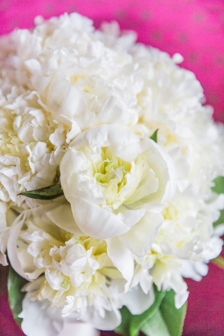 White Peony Wedding Bouquet with Greenery | St. Pete Wedding Florist Cotton and Magnolia