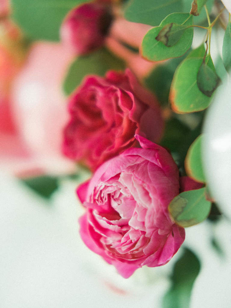 Pink and Red Peony Wedding Decor Flowers with Greenery