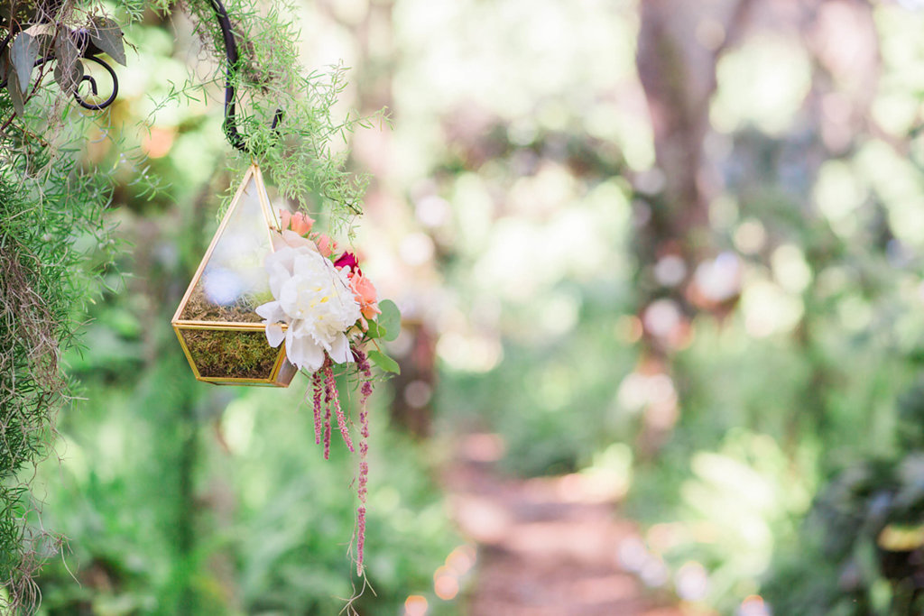 Outdoor Whimsical Garden Wedding Inspiration With Geometric Vase with Moss