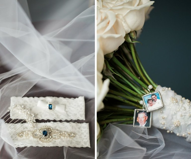 Bridal Accessories Including Blue Gemstone Jewelry, White Rose Bouquet Wrapped in Pearl Sewn Lace with Photo Memory Charms