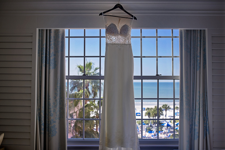 Cut-out Illusion Lace Martina Liana Column Wedding Dress on Hanger | Iconic St. Pete Beach Hotel The Don CeSar