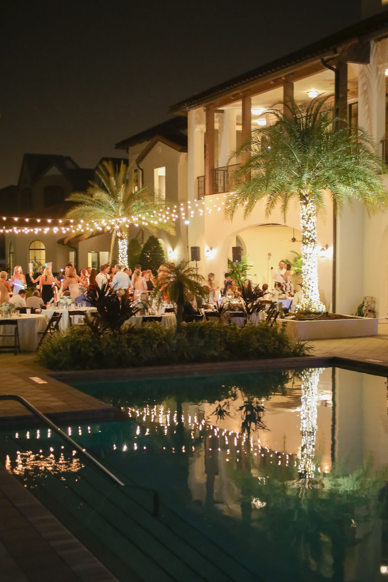 Outdoor Poolside Wedding Reception with String Lights | Tampa Bay Waterfront Wedding Venue The Westshore Yacht Club