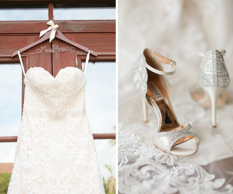 Morilee Madeline Gardner Strapless Ivory Wedding Dress on Customized Mrs Hanger and Open Toe Rhinestone Stiletto Badgley Mischka Bridal Shoes