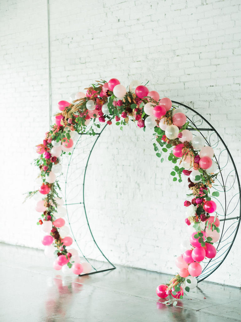 Pink and White Balloon, Branches, Greenery and Fuchsia Flowers Iron Circle Modern Wedding Arch | Lakeland Industrial Wedding Venue Haus 820