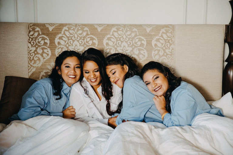 Bridesmaids Getting Ready in Monogrammed Blue Robes Portrait | Tampa Bay Wedding Photographer Rad Red Creative