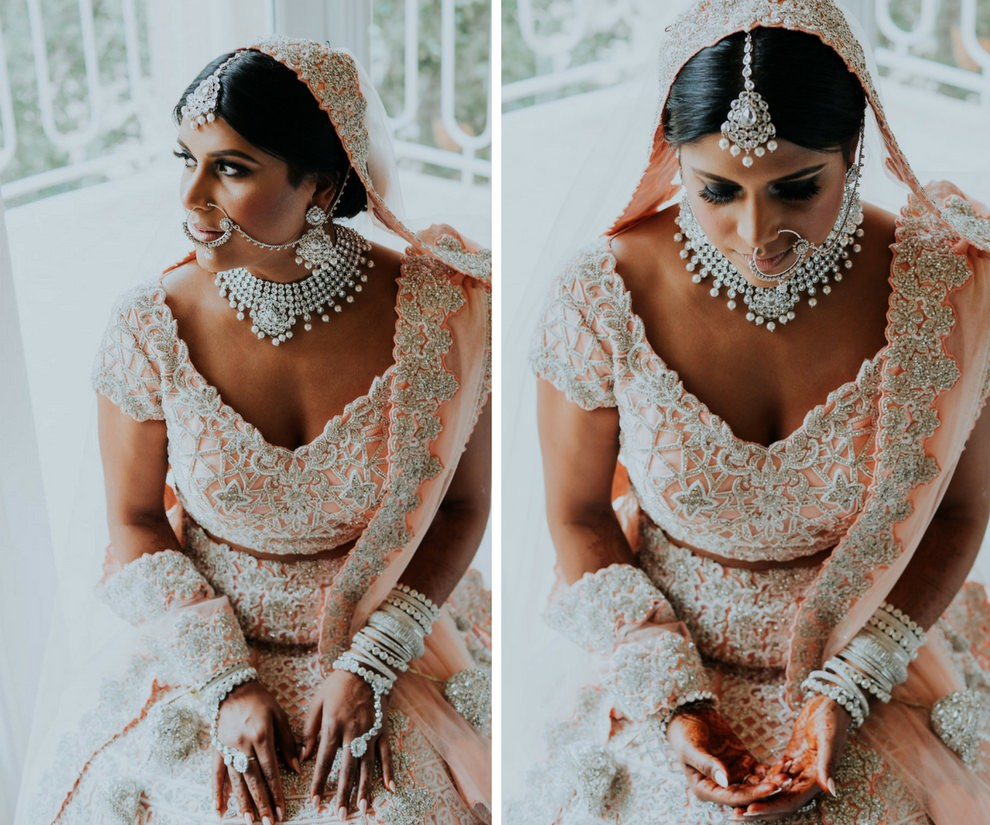 Traditional Hindu Indian Wedding Bride Getting Ready Portrait in peach and Silver Saree and Jewelry   Tampa Wedding Photographer Grind and Press Photography