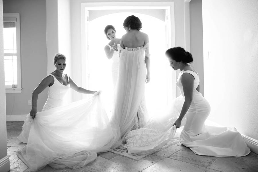 Bridal Getting Ready Portrait, Bridesmaids in Floorlength White Bella Bridesmaids Hayley Paige Dresses