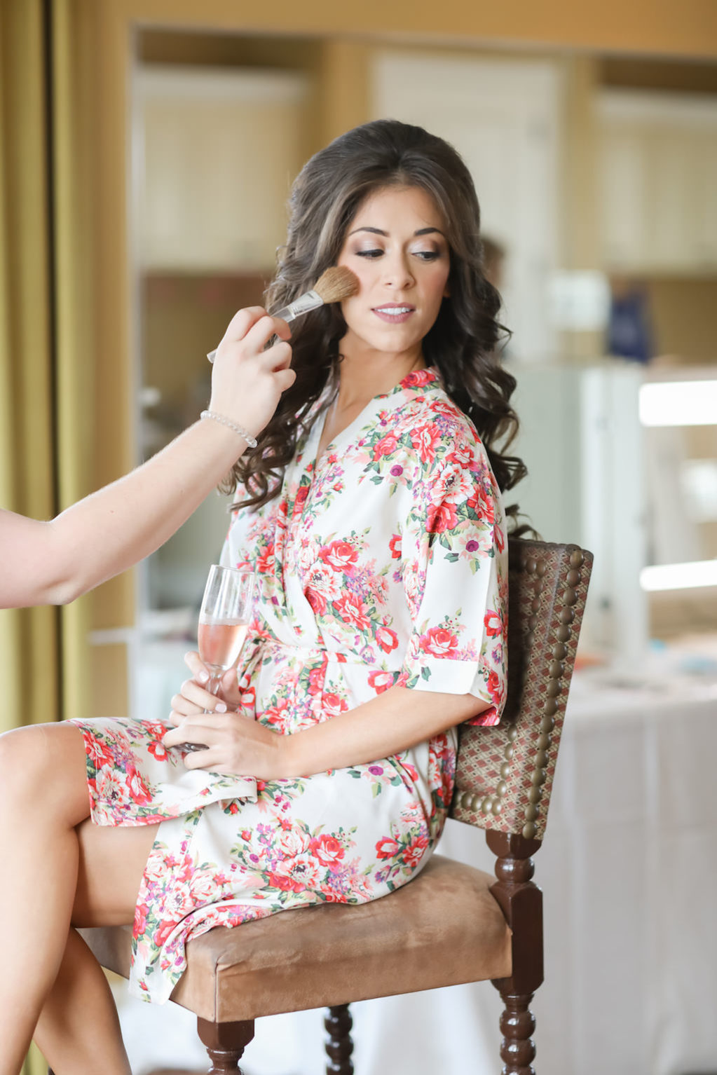 Bride Getting Ready Portrait wearing Pink and White Floral Silk Robe | Tampa Bay Wedding Hair and Makeup Michele Renee The Studio | Photographer Lifelong Studios Photography