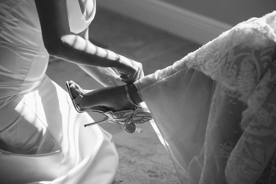 Bridal Getting Ready Portrait with Open Toe Stiletto Butterfly Wing Heel Wedding Shoes