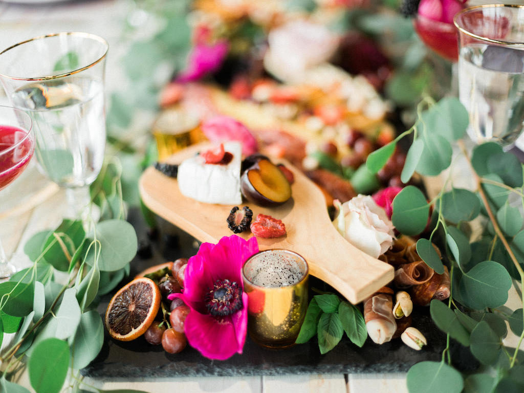 Modern Fuchsia Wedding Charcuterie Board with Greenery   Lakeland Florida Wedding Caterer Tastes of Tampa Bay