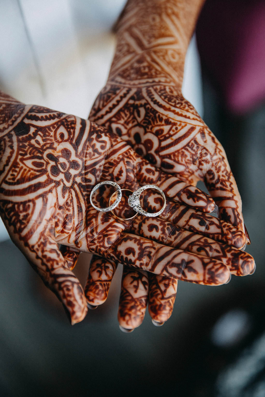 Modern Indian Bride Getting Ready Portrait With Henna And Wedding